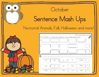 Daily 5 Word Work Sentence Mash Ups  October
