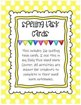 Word Work Spelling Task Cards