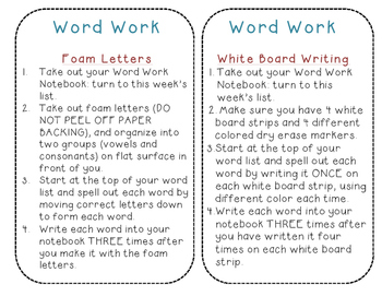 Daily 5-Word Work Station directions