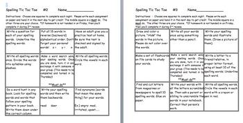 Daily 5 Word Work Tic Tac Toe