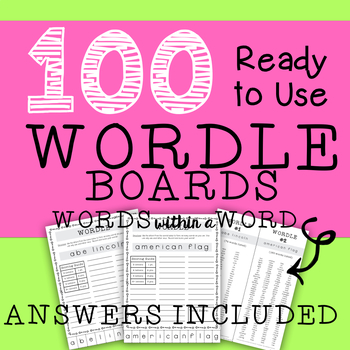WORDLE Boards with Answer Keys