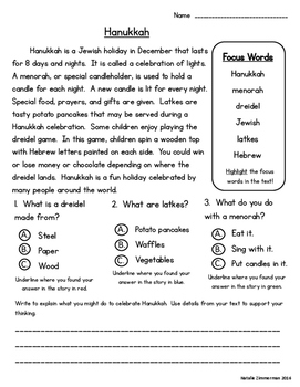 Daily 5 Word Work and Close Reading Comprehension Passages:  December