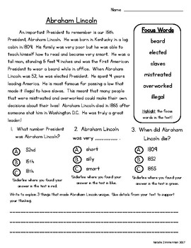 Daily 5 Word Work and Close Reading Comprehension Passages:  February