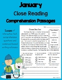 Daily 5 Word Work and Close Reading Comprehension Passages:  January