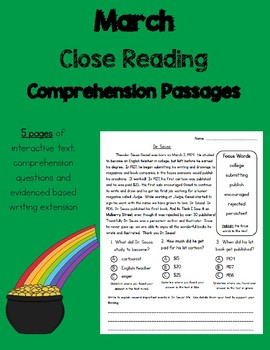 Daily 5 Word Work and Close Reading Comprehension Passages:  March
