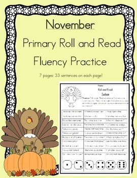 Daily 5 Word Work and Reading Roll and Read Fluency November