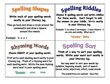 Daily 5 Word Work and/ Spelling Task Cards