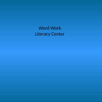 Daily 5 Word Work  Center Activities