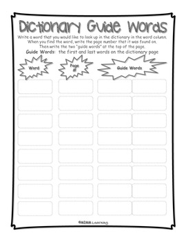 Work on Writing - Dictionary Guide Words