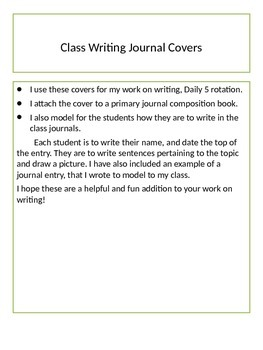 Daily 5 Work on Writing Journals
