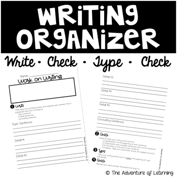 "Daily 5 - ""Work on Writing"" Organizer and Checklist EDITABLE"