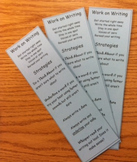 Daily 5 Work on Writing Strategy Page Marker/Book Mark