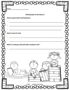 Daily 5 Work-on-Writing and Read-to-Self Student Reflection Combo Pack