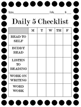 Daily 5 - Worksheet