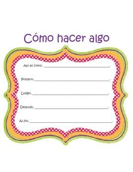 Writing Center- Story Frame SPANISH (Graphic organizer) Interactive Journal