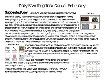 Daily 5 Writing Center Task Cards:  February Edition