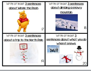 Daily 5 Writing Center Task Cards:  January Edition
