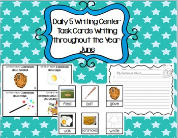 Daily 5 Writing Center Task Cards:  June Edition