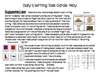Daily 5 Writing Center Task Cards:  May Edition