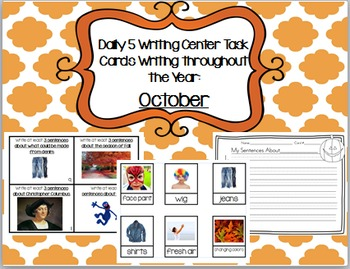 Daily 5 Writing Center Task Cards:  October Edition