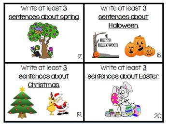 Daily 5 Writing Center Task Cards:  Sentence Writing Edition w/ paper