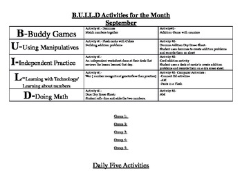 Daily 5 and BUILD Lesson Plan examples