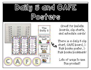 Daily 5 and CAFE Posters, Cards, and Bookmarks