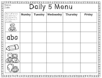 Daily 5 and Daily 3 Menus