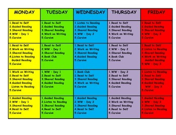 Daily 5 and Word Work Schedule