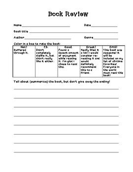 Daily 5 book review form