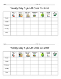 Daily 5 check in sheet for student with AR and Listen to Reading