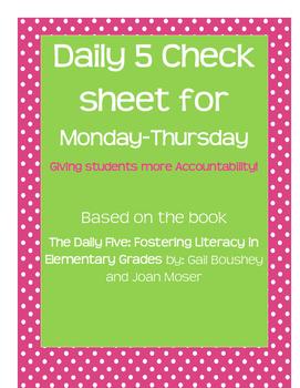 Daily 5 check sheet