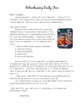Daily 5 letter to Parents