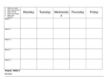Daily 5 math accountability chart- editable