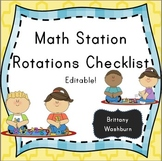 Math station rotations checklist flowers theme
