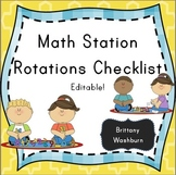 Math station rotations checklist picnic theme