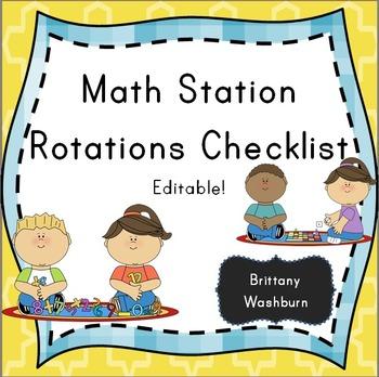 Math station rotations checklist picnic theme