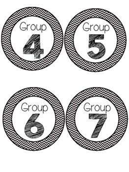 Daily 5 or Centers Signs and Rotation Cards Black and White Chevron