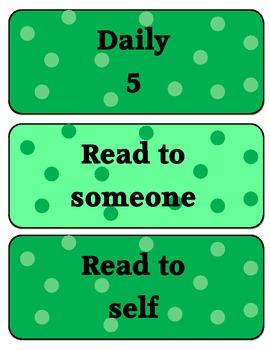 Daily 5 posters - Green polka dots