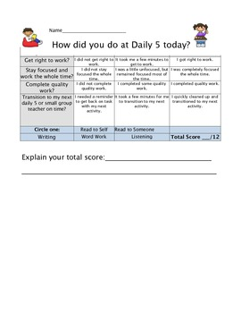 Daily 5 student rubric