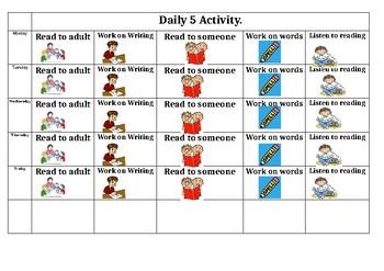 Daily 5 visual check in sheet
