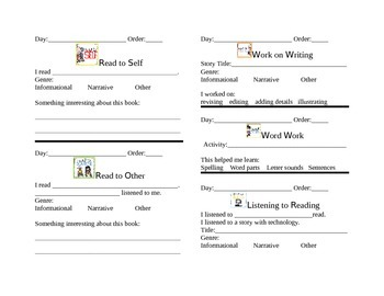 Daily 5 weekly checklist for students