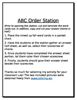 Daily 5 word work station - Fall ABC order scarecrow