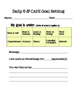 Daily 5/CAFE Goal Setting