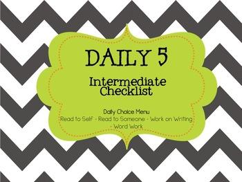 Daily 5/Cafe - Intermediate Checklist