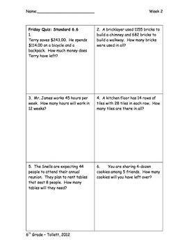 Daily 6 Grid Math Review Packets For 6th Grade Weeks 2 5 By Amy Tollett
