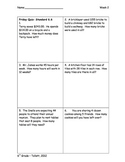 Daily 6-Grid Math Review Packets for 6th grade Weeks 2-5