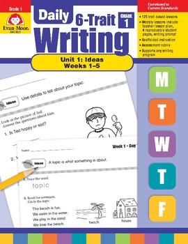 Daily 6-Trait Writing BUNDLE, Grade 1, Unit 1 IDEAS, Weeks 1-5