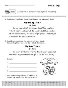 Daily 6-Trait Writing BUNDLE, Grade 2, Unit 1 IDEAS, Weeks 1-5