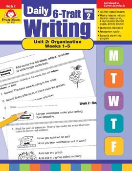 Daily 6-Trait Writing BUNDLE, Grade 2, Unit 2 ORGANIZATION, Weeks 1-5
